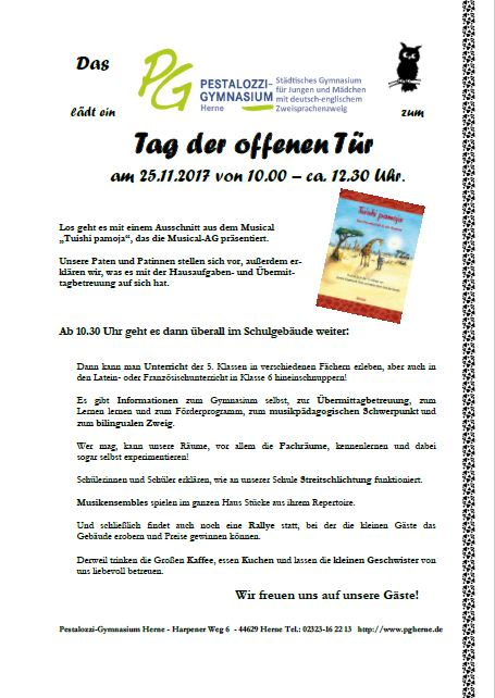 Einladung Tag Der Offenen Tr Pestalozzi Gymnasium 25 11 2017