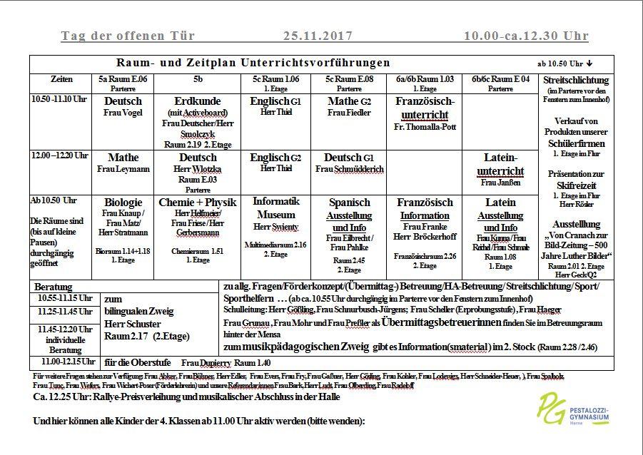 Raumplan Teil 1 Tag Der Offenen Tr Pestalozzi Gymnasium 25 11 2017