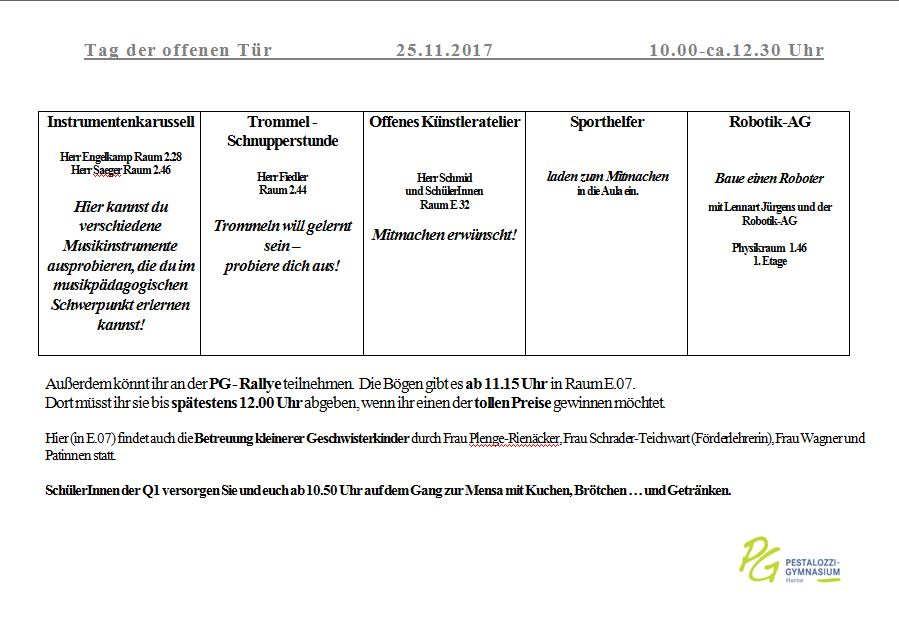 Raumplan Teil 2 Tag Der Offenen Tr Pestalozzi Gymnasium 25 11 2017