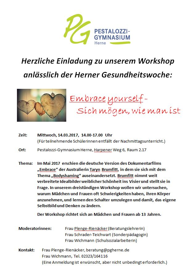 Einladung Pg Workshop Embrace Yourself 14 03 2018