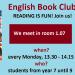 Zwischeneinstieg in den English book club am Montag (25.3.) günstig