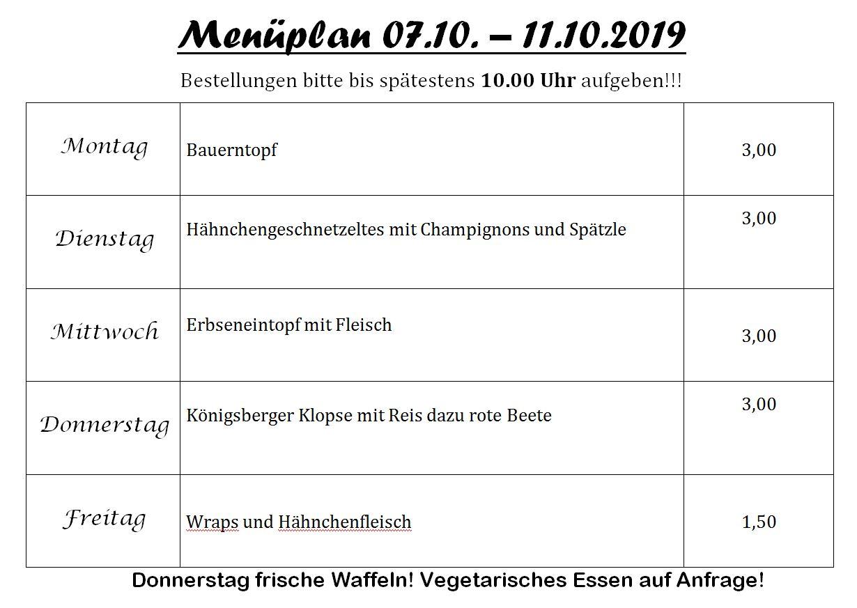 Menueplan Pestro 07 10 Bis 11 10 2019