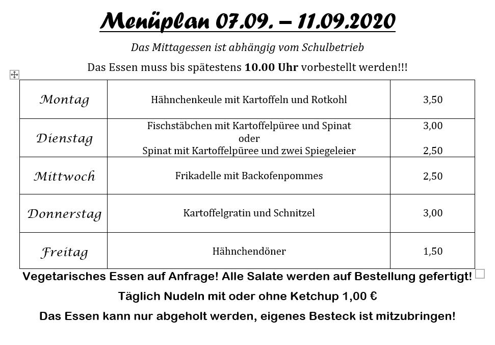 2020 09 07bis11 Menueplan Pestro